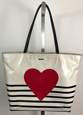 KATE SPADE New York Coated Canvas Yours Truly Hallie Heart and Stripe Tote