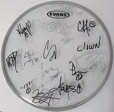 """SLIPKNOT & METALLICA 14"""" REAL hand SIGNED Concert Used Drumhead 2004 All 13 COA"""