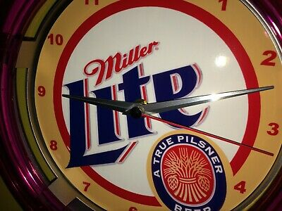 Miller Lite Beer Bar Advertising Man Cave Neon Wall Clock Sign