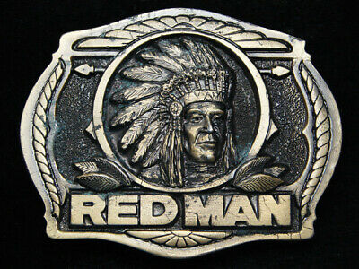 Rc13107 Vintage 1988 **Red Man** Chewing Tobacco Advertisement Belt Buckle