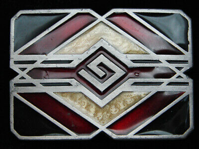 Qg01128 *Nos* Vintage 1993 **Diamond Collage** Southwestern Design Belt Buckle