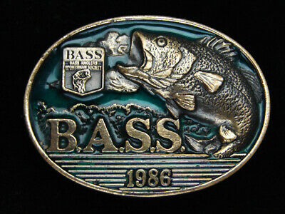 Pk09116 Vintage 1986 **Bass Anglers Sportsman Society** Fishing Belt Buckle