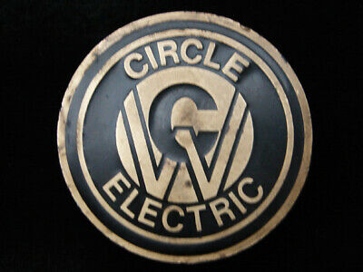 QD11102 VINTAGE 1970s **CIRCLE ELECTRIC** COMPANY BRASSTONE BELT BUCKLE