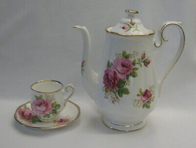 Royal Albert American Beauty Pink Roses Coffee Pot & Demitasse Cup & Saucer