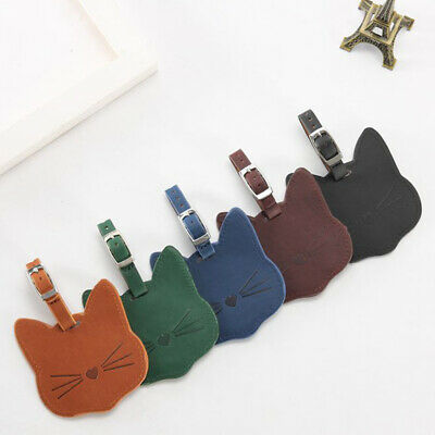 1PCS Creative Cat Pattern Luggage Tag Leather Travel Accessories
