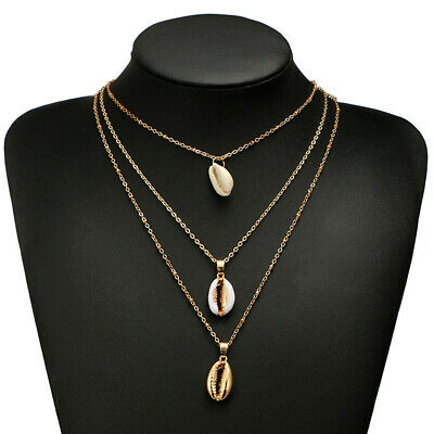 Multi-layer Natural Seashell Necklace Women Three Shell Metal Necklace Pendant