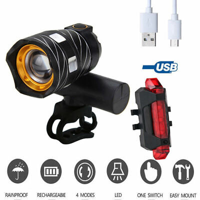 Bike Front Rear Light Bicycle LED Headlight Flashlight USB Rechargable 15000LM