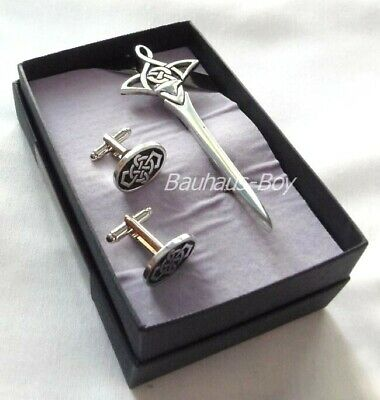 Kilt Pin & Cufflinks Celtic Knot Pewter Enamelled Detail Made In Scotland Kilts