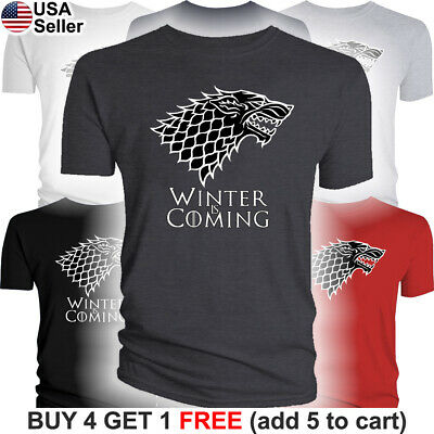 Game of Thrones T-Shirt House Stark Dire Wolf Winter is Coming Direwolf Men GoT