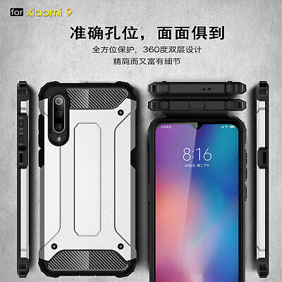 For Xiaomi Mi 9, Shockproof Rugged Hybrid Armor Dual Layer Hard Soft Cover Case