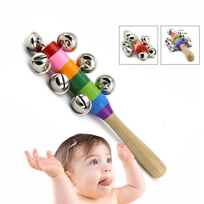 Infant Baby Colorful Rattle Ringing Music Bell Educational Toys With Wood Handle