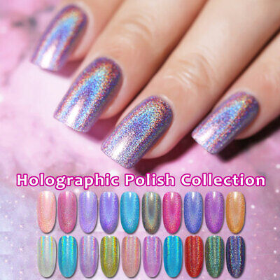BORN PRETTY Holographic Polish Glitter Sparkly Varnish Shiny Black Holo Rose Red