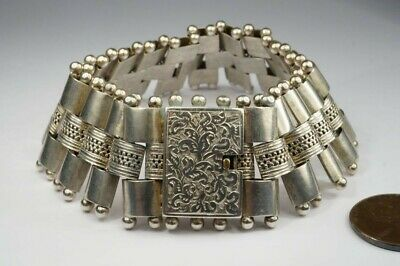 ANTIQUE VICTORIAN ENGLISH SILVER BOOK CHAIN STYLE GOTHIC BRACELET c1880