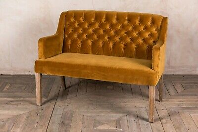 2 Seater Mustard Yellow Velvet Upholstered Dining Bench Button Back Sofa