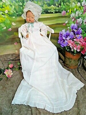 ANTIQUE original VICTORIAN ERA Christening Gown EXTRA LONG pin tucks DOLL DRESS