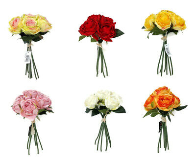 7 Head Artificial Ranunculus Rose Flower Bunch x 28cm - Colour Choice