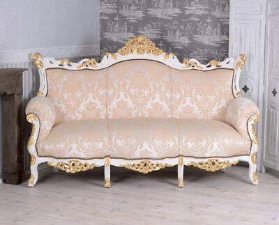 Large Sofa Baroque Cream-White Royal SOLID WOOD COUCH SALON PALACE SEAT