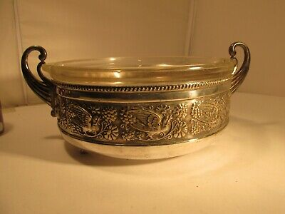WMF silverplated bowl c1900  with later glass liner.                    1.4 kilo
