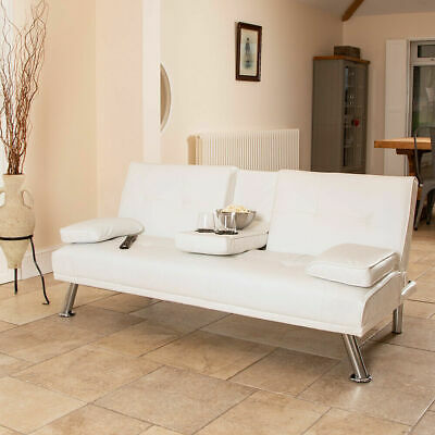 Wido WHITE FAUX LEATHER SOFA BED MODERN 3 SEATER SETTEE FUTON Z BED ARMCHAIR