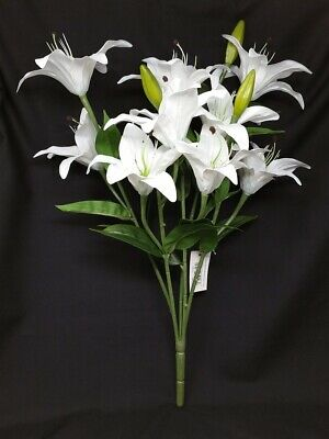 Real Touch Artificial Lily Bush x 50cm - White - 9 Head Wedding Display Flowers