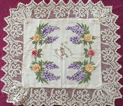 Vintage French Silk Lace Edged Cloth
