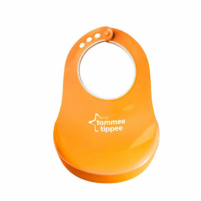 Baby Feeding Bib Comfi Neck Catch All Bibs Plastic Tommee Tippee Pelican Orange