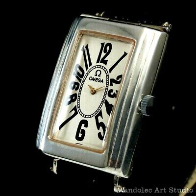 OMEGA Vintage Mens Wristwatch Art Deco Sterling Silver Men's Wrist Watch Swiss