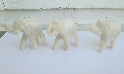 3 Small Vintage Soapstone ? Hand Carved Elephant Figurine Trunk Up
