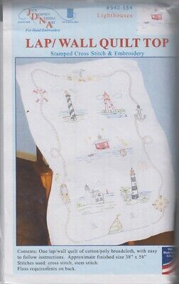 1 Jack Dempsey Lighthouses Stamped-Embroidery  Lap Quilt Top