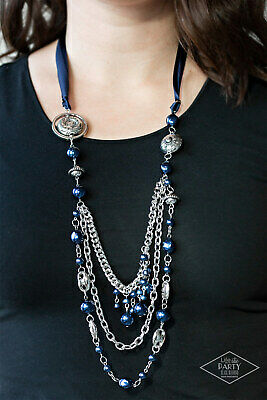 """NIP Paparazzi /""""All The Trimmings/"""" Purple Ribbon Necklace and Earrings"""