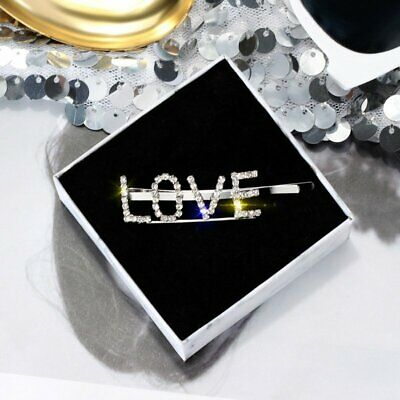 Fashion Women Crystal LOVE Words Hair Clip Barrette Stick Hairpin Hair Gifts New