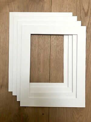 """4 x Picture Frame Mounts, Bevel Cut Inserts.10""""x8"""" for 8""""x6"""" photos (A5)"""