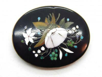 Large Antique Victorian Georgian Micro Mosaic Pietra Dura Pin Brooch Gold Filled