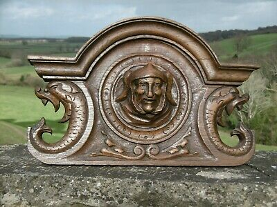 SUPERB 19thc GOTHIC OAK CARVING WITH HOODED HEAD & TWO GARGOYLES C.1870