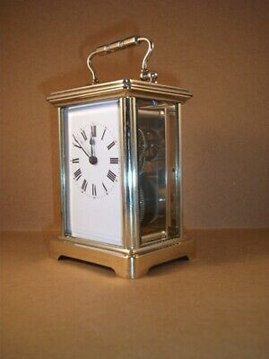 Antique French brass carriage clock & key. Restored and serviced in March 2019.
