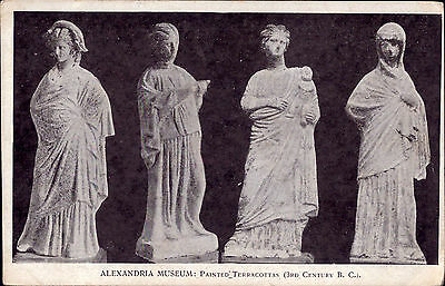 Egypt Alexandria Museum old PC Painted Terracottas 3rd Century B.C. real photo