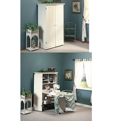 Best Craft Table Cabinet Armoire Storage Furniture Folding Sewing White Desk New
