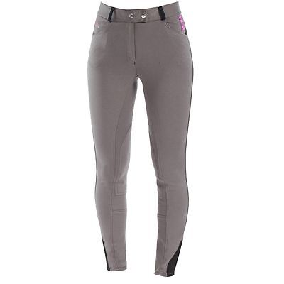 Horze Ladies English Hunt Seat Self Patch Contoured Breeches Gray SALE