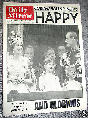 1953 QUEEN ELIZABETH II CORONATION I QE2 Newspaper Daily Mirror Crowned Old UK