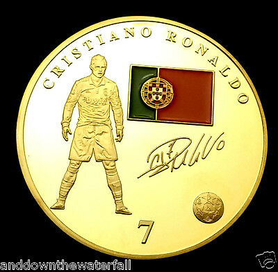 Ronaldo Real Madrid Badge World Cup 2014 Gold Coin Autograph Russia 2018 Man U C