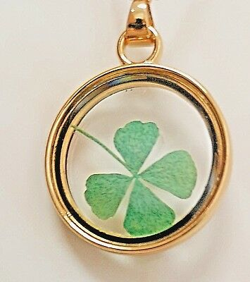 Lucky Real 4 Leaf Clover Gold Pendant St Patricks Day 17th March Ireland Party