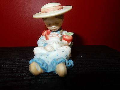 Vintage Holly Hobbie Small Figurine Blue Dress Girl Eating a Apple