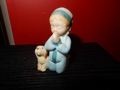 Vintage Holly Hobbie Friend Boy With Dog Saying His Prayers