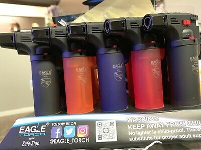 4 Pack Butane Eagle Torch Lighter Gun Windproof Adjustable Jet Flame Refillable