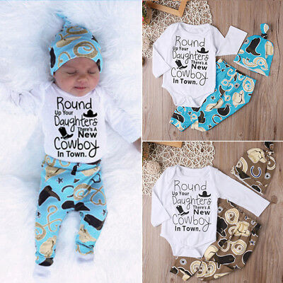 3pcs Newborn Baby Boy Girl Long Sleeve Romper Tops+Pants Outfits Clothes