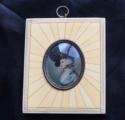 Famed 18th Century ACTRESS Sarah Siddons SIGNED Mini PAINTING Portrait Porcelain