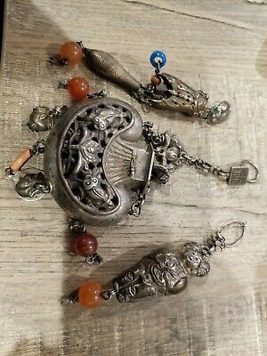 3 Qing Dynasty Chinese Sterling Silver Ornaments With Agate Estate sale