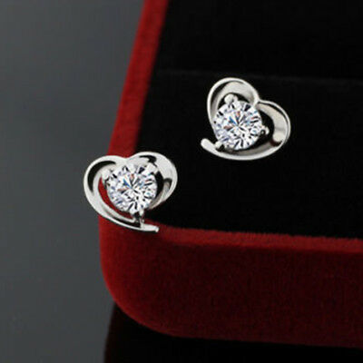 2.00 CT Diamond Round Cut 10K White Real Gold Heart Shape Stud Earrings