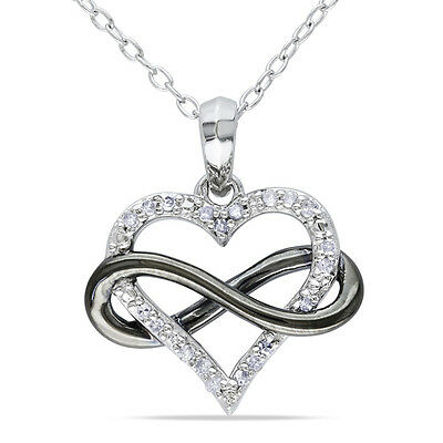 1/10 CT Diamond Sideways Infinity with Heart Pendant in Two-Tone 14k Gold Finish