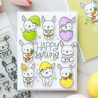 Bunny Friends Clear Stamp DIY Stencil Scrapbooking Handcraft Paper Cards Crafts